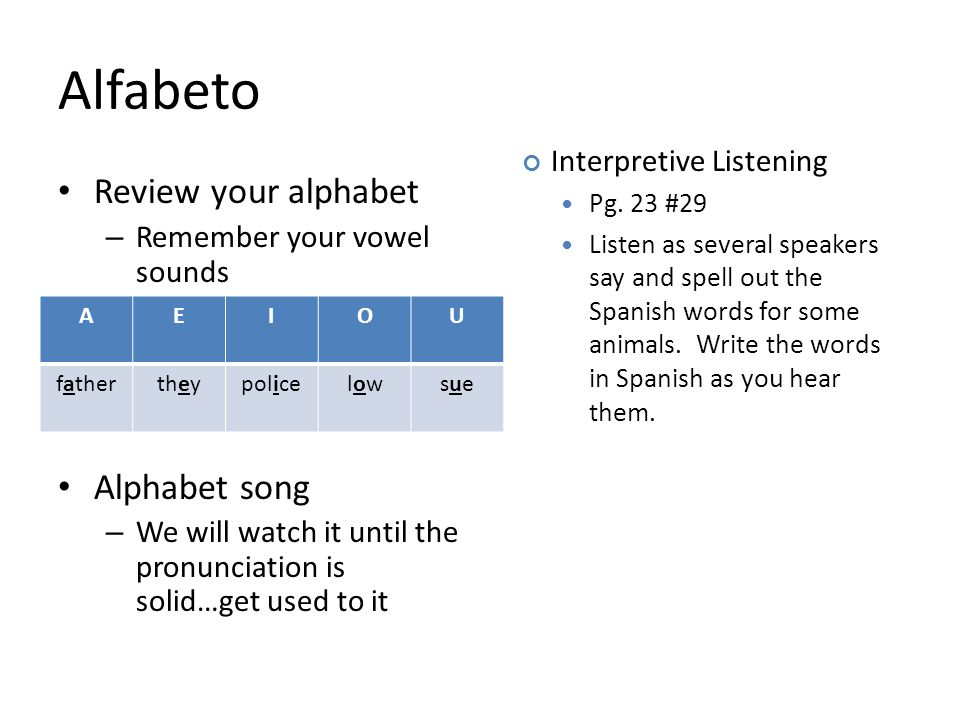 Alfabeto Review your alphabet – Remember your vowel sounds Alphabet song – We will watch it until the pronunciation is solid…get used to it AEIOU fath