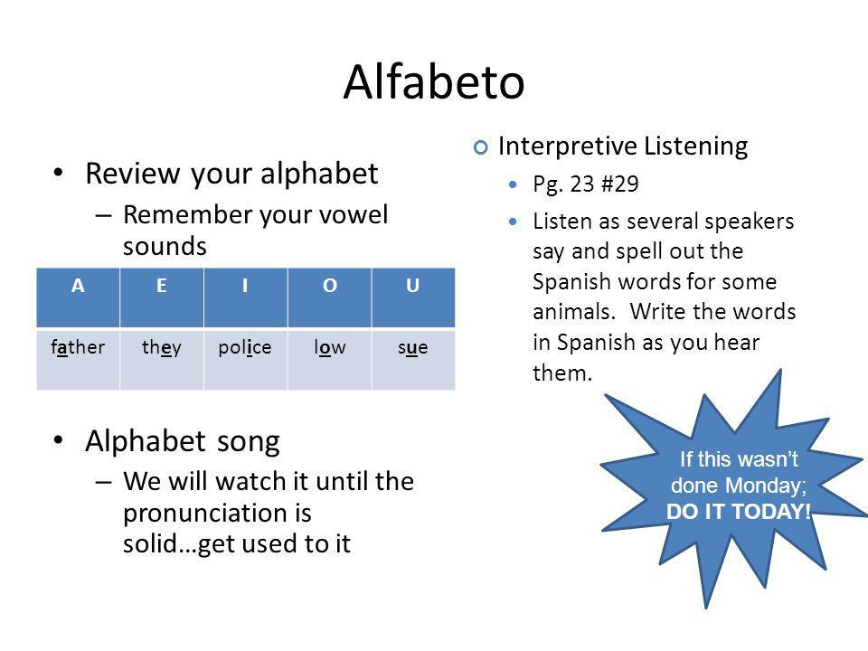 Alfabeto Review your alphabet – Remember your vowel sounds Alphabet song – We will watch it until the pronunciation is solid…get used to it AEIOU fathertheypolicelowlowsuesue Interpretive Listening Pg.