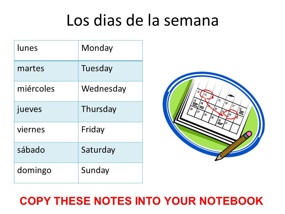 Los dias de la semana lunesMonday martesTuesday miércolesWednesday juevesThursday viernesFriday sábadoSaturday domingoSunday COPY THESE NOTES INTO YOUR NOTEBOOK