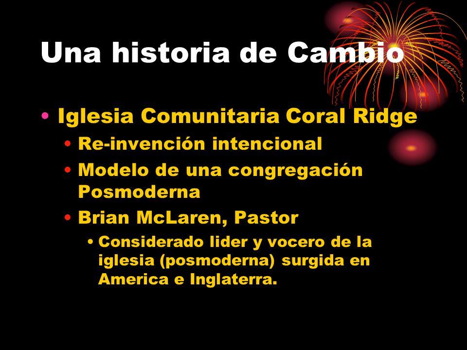 Una historia de Cambio Iglesia Comunitaria Coral Ridge Re-invención intencional Modelo de una congregación Posmoderna Brian McLaren, Pastor Considerado lider y vocero de la iglesia (posmoderna) surgida en America e Inglaterra.