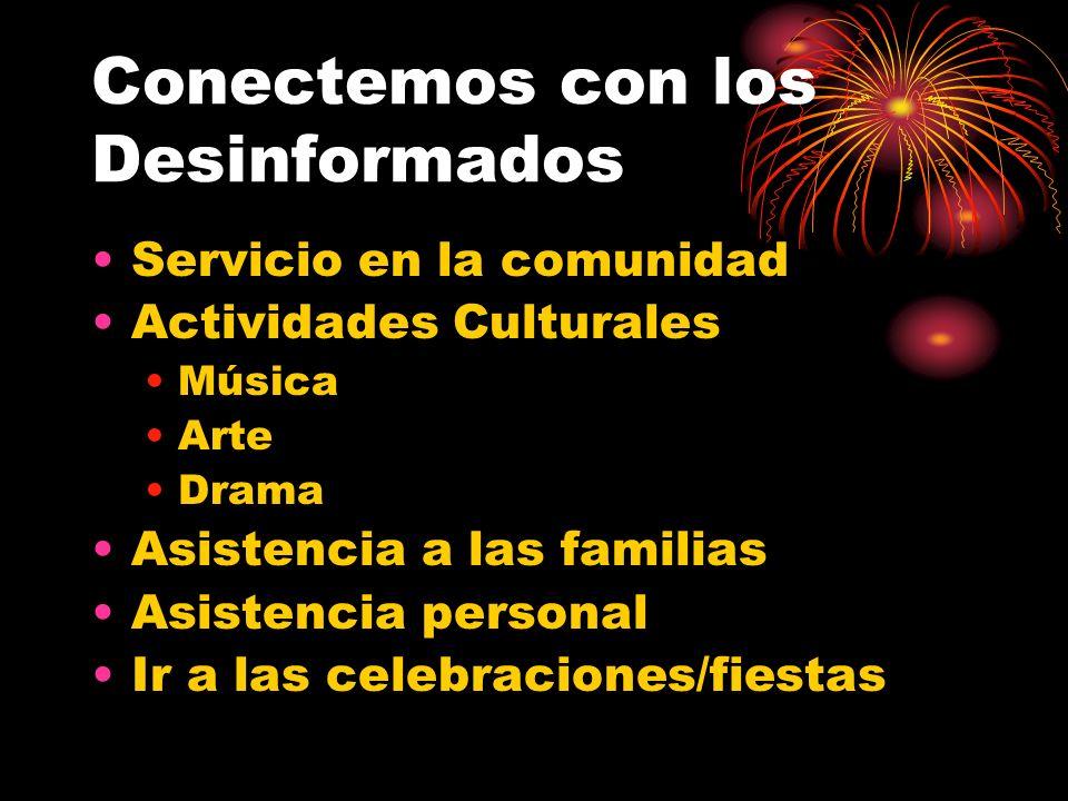 Conectemos con los Desinformados Servicio en la comunidad Actividades Culturales Música Arte Drama Asistencia a las familias Asistencia personal Ir a las celebraciones/fiestas