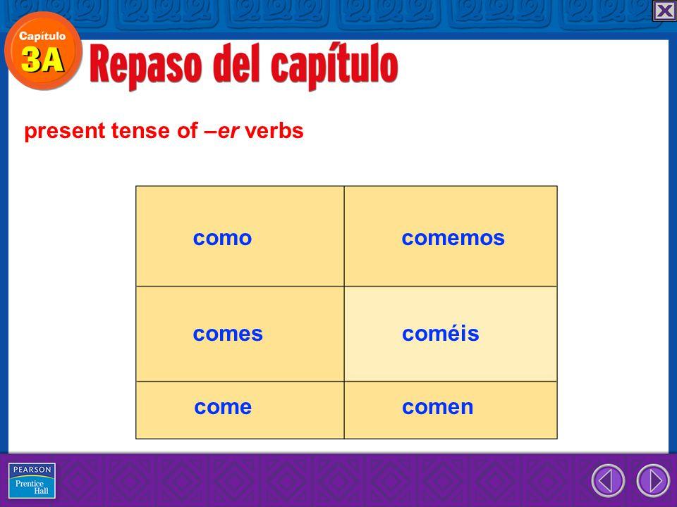 present tense of –er verbs como comes come comemos coméis comen