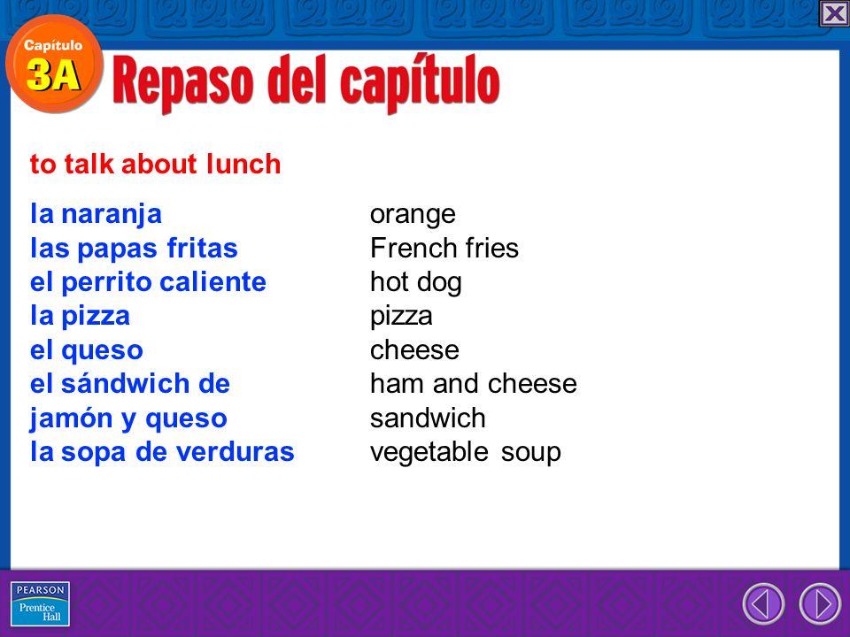 la naranja orange las papas fritas French fries el perrito caliente hot dog la pizza pizza el queso cheese el sándwich de ham and cheese jamón y queso sandwich la sopa de verduras vegetable soup to talk about lunch