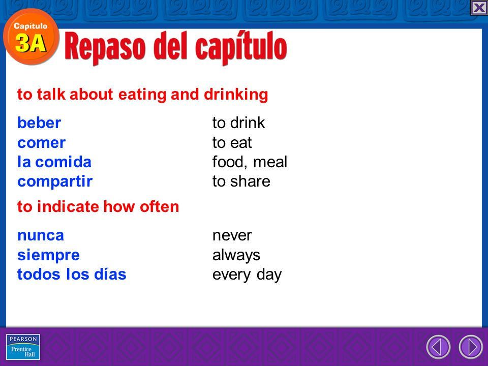 beber to drink comer to eat la comida food, meal compartir to share to talk about eating and drinking nunca never siempre always todos los días every day to indicate how often