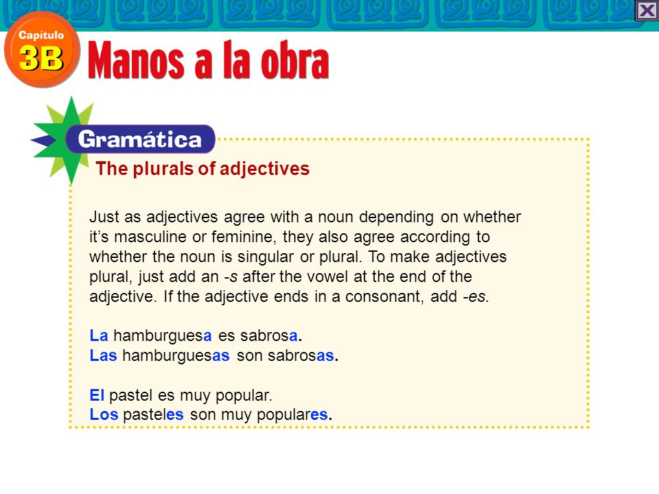 Just as adjectives agree with a noun depending on whether its masculine or feminine, they also agree according to whether the noun is singular or plural.