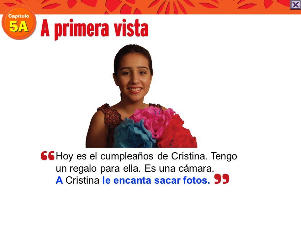 Hoy es el cumpleaños de Cristina. Tengo un regalo para ella. Es una cámara. A Cristina le encanta sacar fotos.