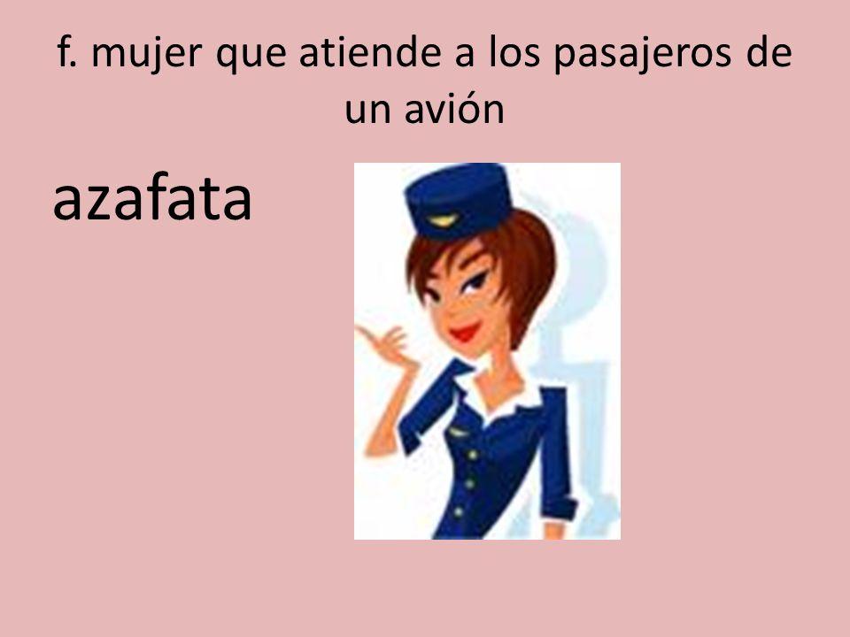 f. mujer que atiende a los pasajeros de un avión azafata