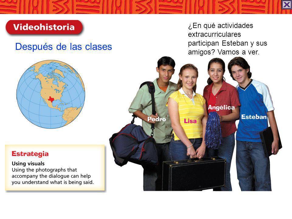 Después de las clases ¿En qué actividades extracurriculares participan Esteban y sus amigos? Vamos a ver.