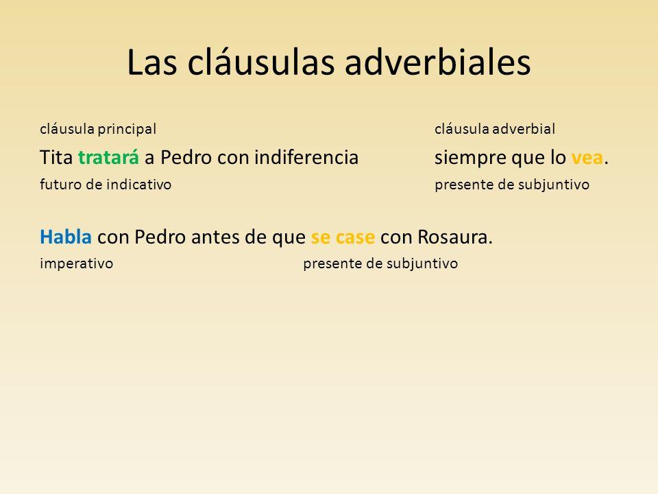 Las cláusulas adverbiales Las siguientes conjunciones introducen cláusulas adverbiales en indicativo o subjuntivo, excepto antes (de) que, la cual siempre introduce en subjuntivo una acción que no ha sucedido.
