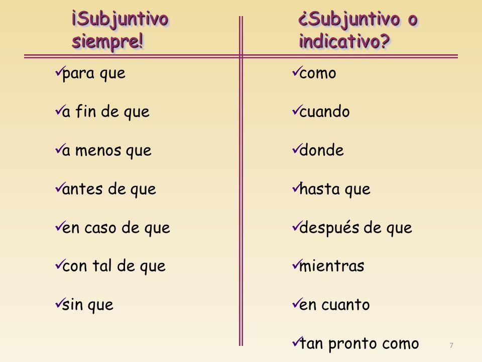 8 ¡Subjuntivosiempre!¡Subjuntivosiempre.¿Subjuntivo o indicativo.