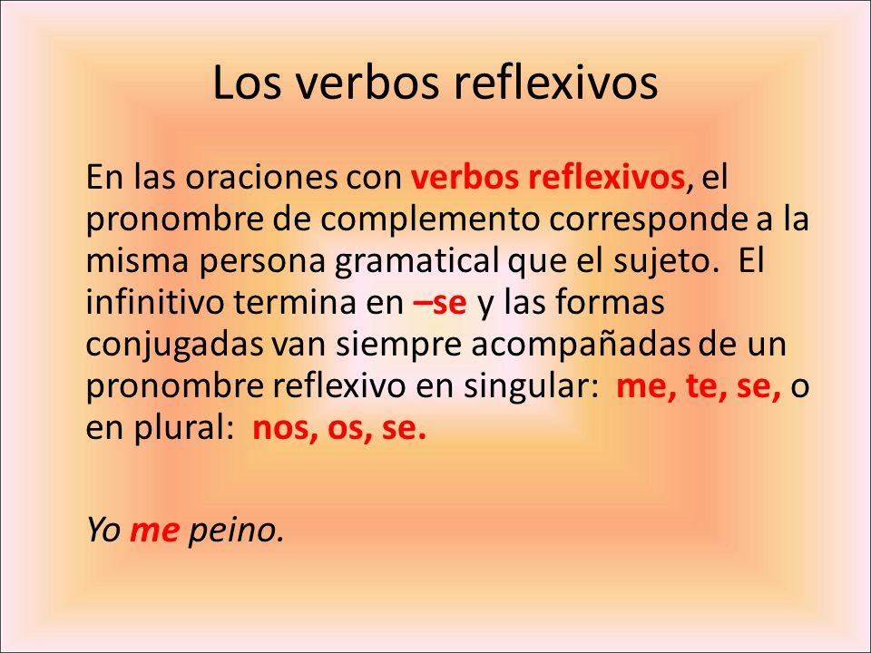 En las oraciones con verbos reflexivos, el pronombre de complemento corresponde a la misma persona gramatical que el sujeto. El infinitivo termina en