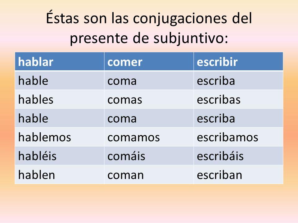 Éstas son las conjugaciones del presente de subjuntivo: hablarcomerescribir hablecomaescriba hablescomasescribas hablecomaescriba hablemoscomamosescri