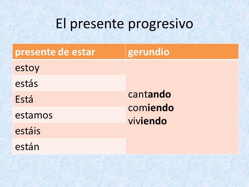 El presente progresivo Algunos verbos cambian la vocal de la raíz en el gerundio.