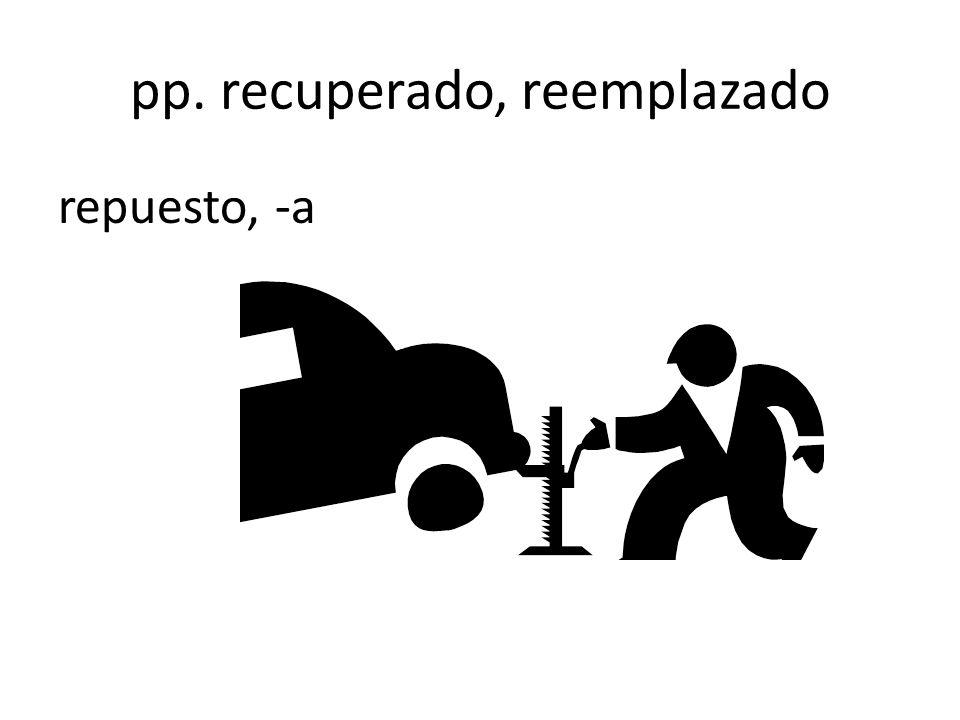 pp. recuperado, reemplazado repuesto, -a