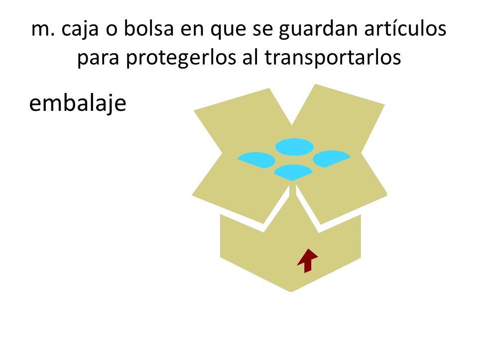 m. caja o bolsa en que se guardan artículos para protegerlos al transportarlos embalaje