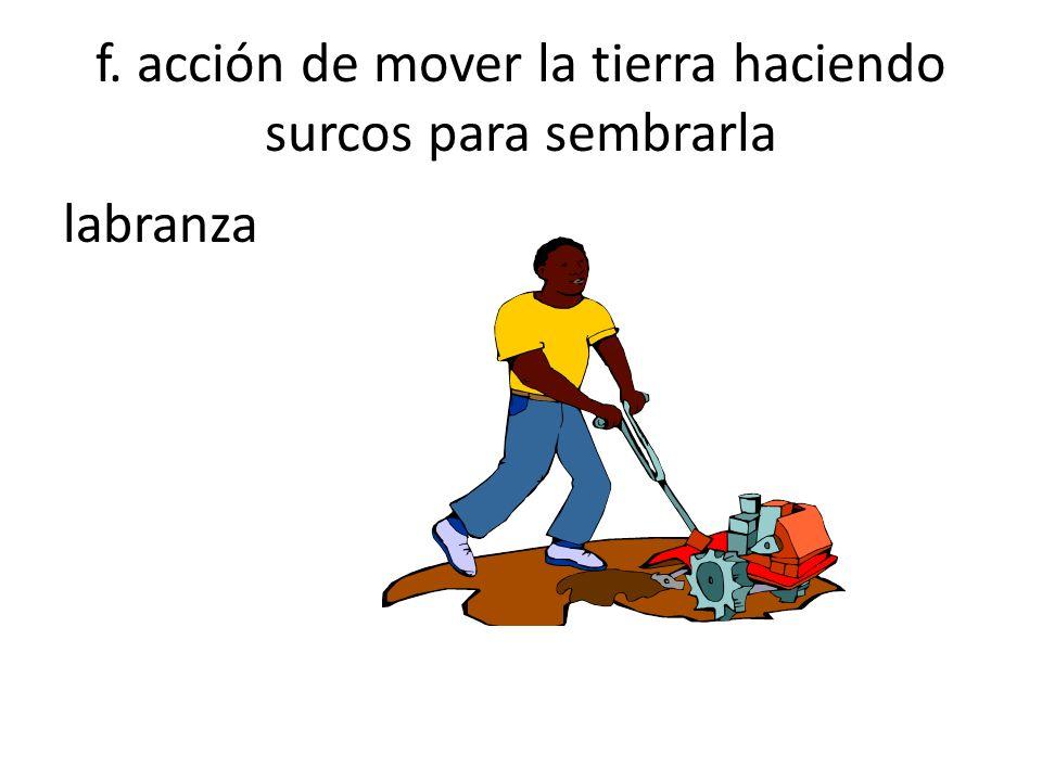 f. acción de mover la tierra haciendo surcos para sembrarla labranza
