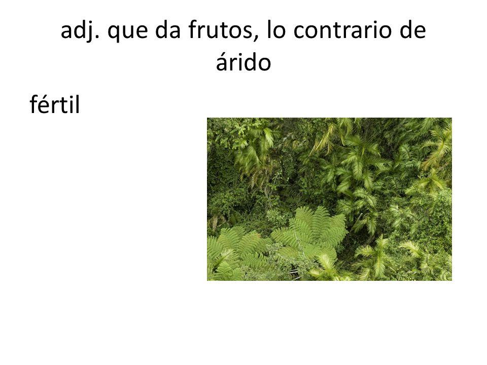adj. que da frutos, lo contrario de árido fértil