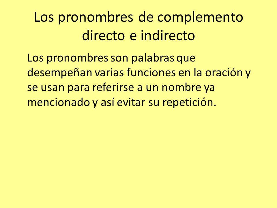 Los pronombres son palabras que desempeñan varias funciones en la oración y se usan para referirse a un nombre ya mencionado y así evitar su repetició