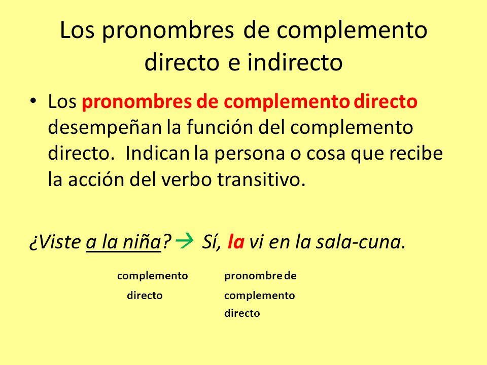 Los pronombres de complemento directo e indirecto Los pronombres de complemento directo desempeñan la función del complemento directo. Indican la pers