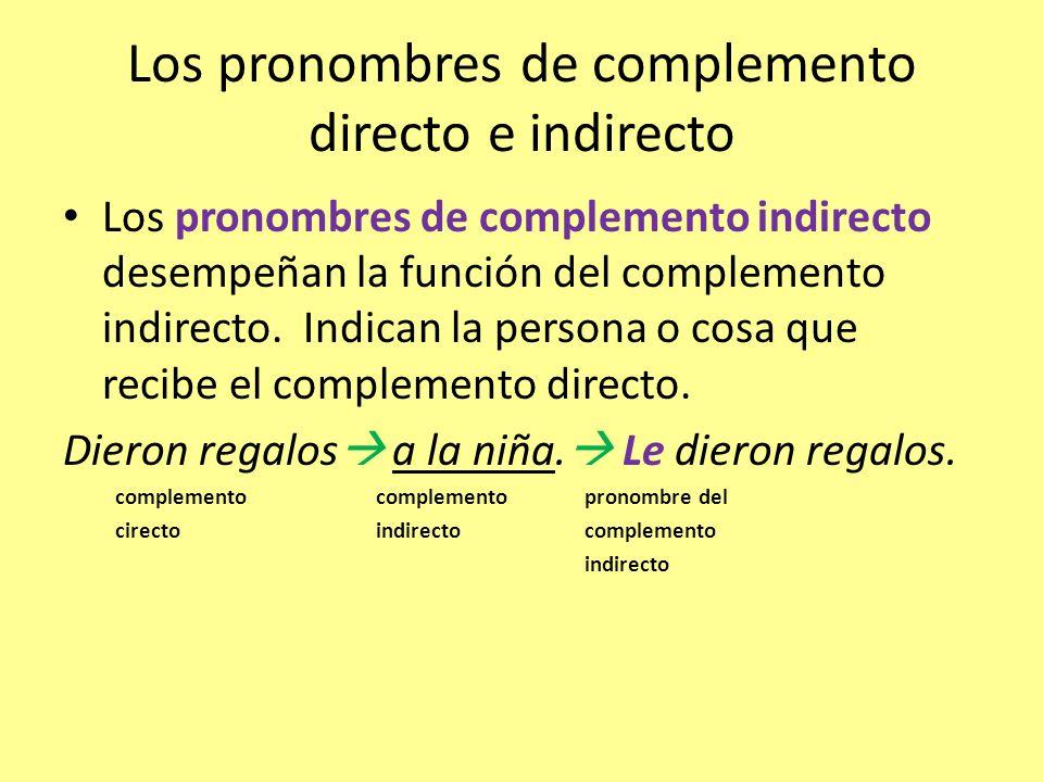 Los pronombres de complemento directo e indirecto Los pronombres de complemento indirecto desempeñan la función del complemento indirecto. Indican la