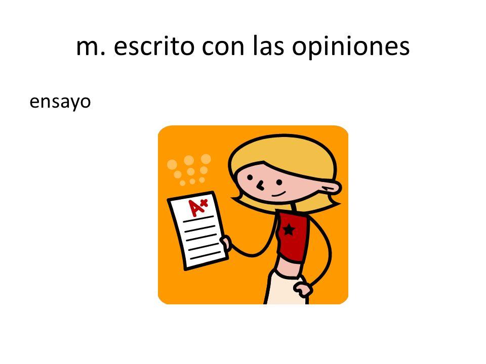 m. escrito con las opiniones ensayo