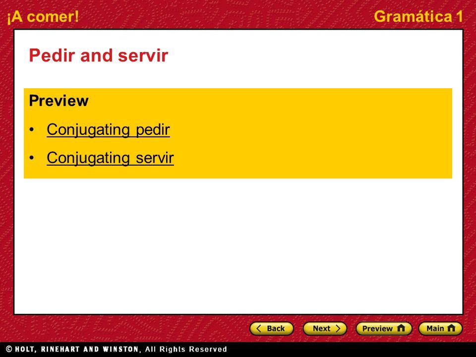 ¡A comer!Gramática 1 Pedir and servir Preview Conjugating pedir Conjugating servir