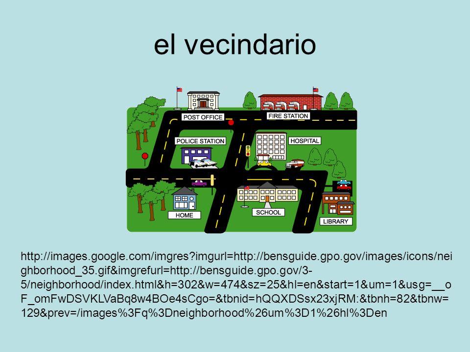 el vecindario http://images.google.com/imgres imgurl=http://bensguide.gpo.gov/images/icons/nei ghborhood_35.gif&imgrefurl=http://bensguide.gpo.gov/3- 5/neighborhood/index.html&h=302&w=474&sz=25&hl=en&start=1&um=1&usg=__o F_omFwDSVKLVaBq8w4BOe4sCgo=&tbnid=hQQXDSsx23xjRM:&tbnh=82&tbnw= 129&prev=/images%3Fq%3Dneighborhood%26um%3D1%26hl%3Den