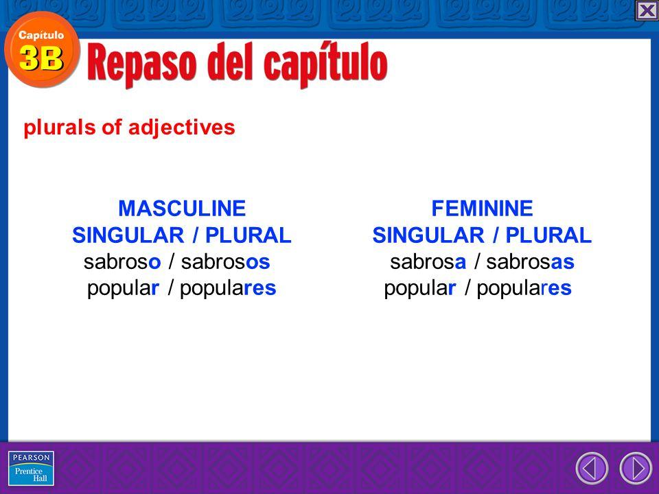 plurals of adjectives MASCULINE SINGULAR / PLURAL sabroso / sabrosos popular / populares FEMININE SINGULAR / PLURAL sabrosa / sabrosas popular / populares