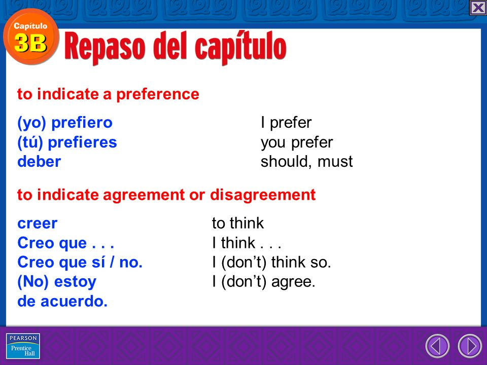 (yo) prefiero I prefer (tú) prefieres you prefer deber should, must to indicate a preference creer to think Creo que...