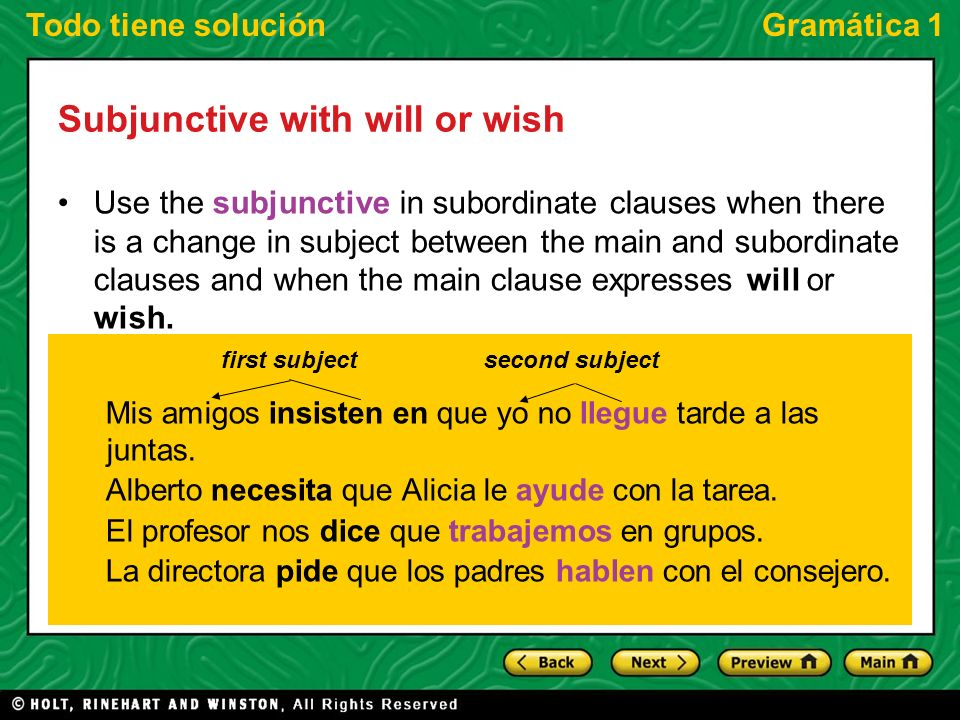 Todo tiene soluciónGramática 1 Subjunctive with will or wish As you know, when there is no change in subject with a verb of will or wish, the first verb is followed by the infinitive.