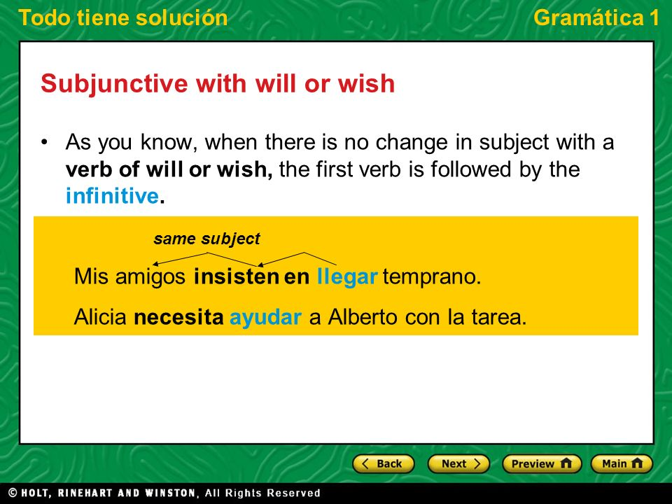 Todo tiene soluciónGramática 1 Subjunctive with will or wish As you know, when there is no change in subject with a verb of will or wish, the first ve