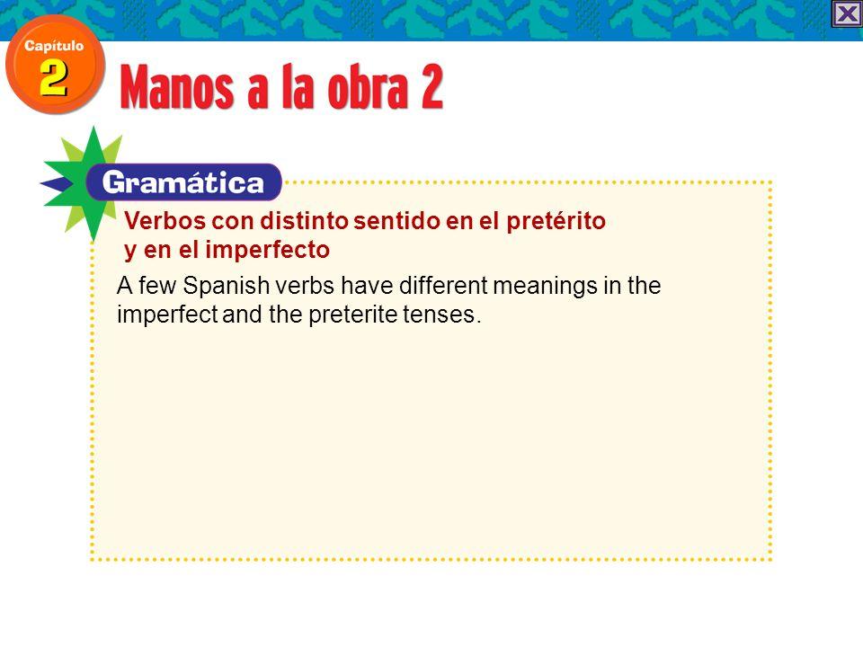 A few Spanish verbs have different meanings in the imperfect and the preterite tenses. Verbos con distinto sentido en el pretérito y en el imperfecto