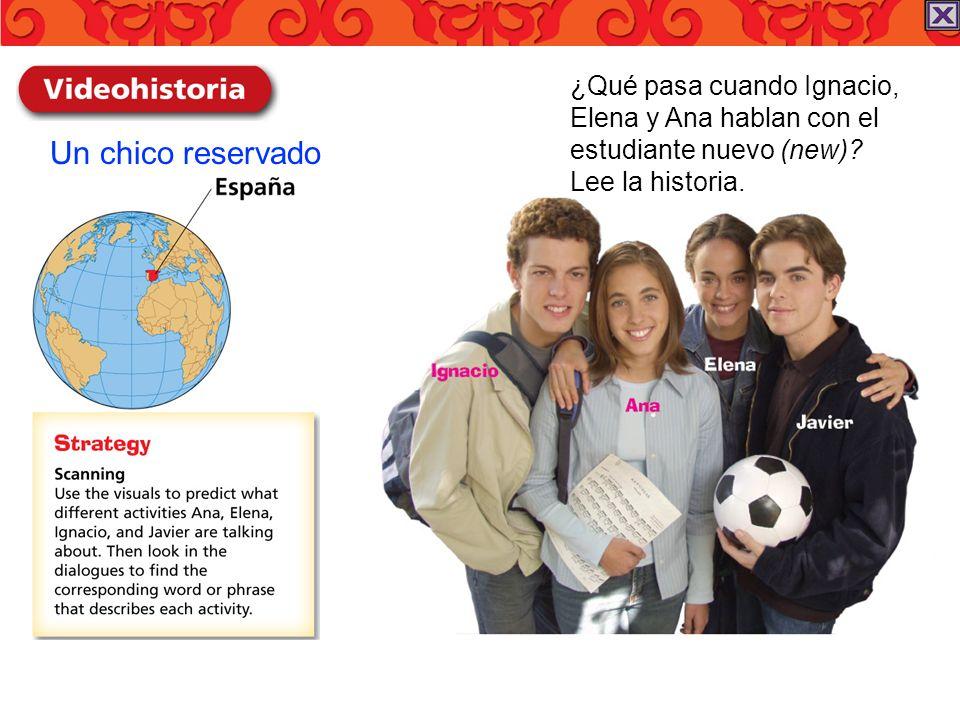 Un chico reservado ¿Qué pasa cuando Ignacio, Elena y Ana hablan con el estudiante nuevo (new)? Lee la historia.