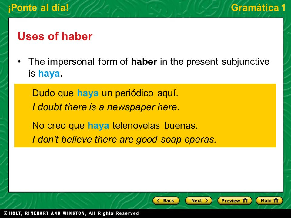 ¡Ponte al día!Gramática 1 Uses of haber The future tense form habrá can be used to say or to predict what there will be, or to wonder or make a conjecture about what there is.