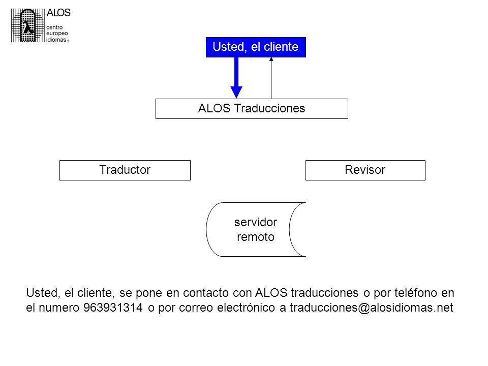 Usted, el cliente ALOS Traducciones TraductorRevisor servidor remoto Usted, el cliente, se pone en contacto con ALOS traducciones o por teléfono en el numero 963931314 o por correo electrónico a traducciones@alosidiomas.net