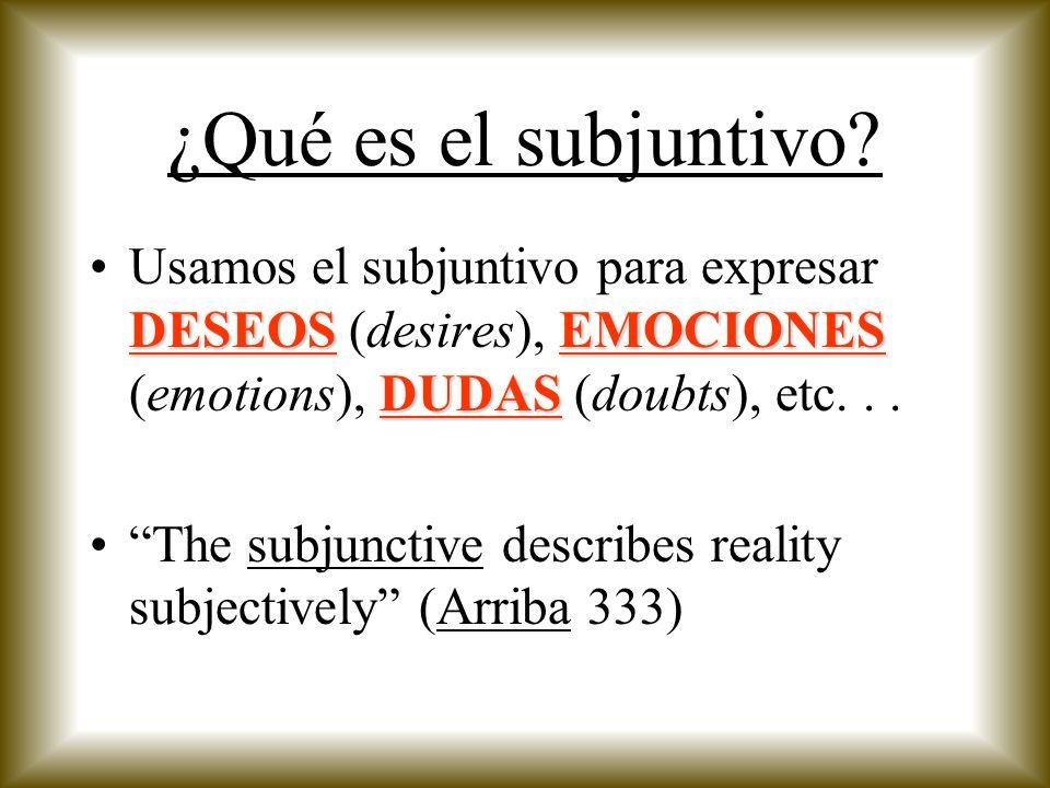 ¿Cómo formamos el subjuntivo.