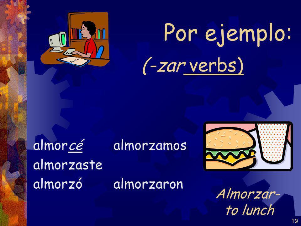 18 (-gar verbs) jugué jugaste jugó Jugamos jugaron Por ejemplo: Jugar- to play