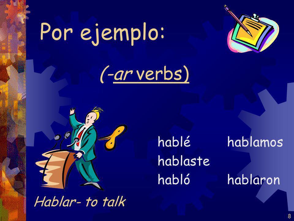 7 (-ar verbs) tomé tomaste tomó tomamos tomaron Por ejemplo: Tomar- to take in