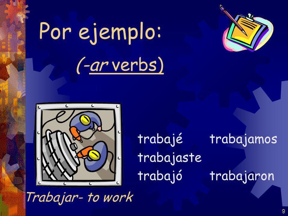9 (-ar verbs) trabajé trabajaste trabajó trabajamos trabajaron Por ejemplo: Trabajar- to work
