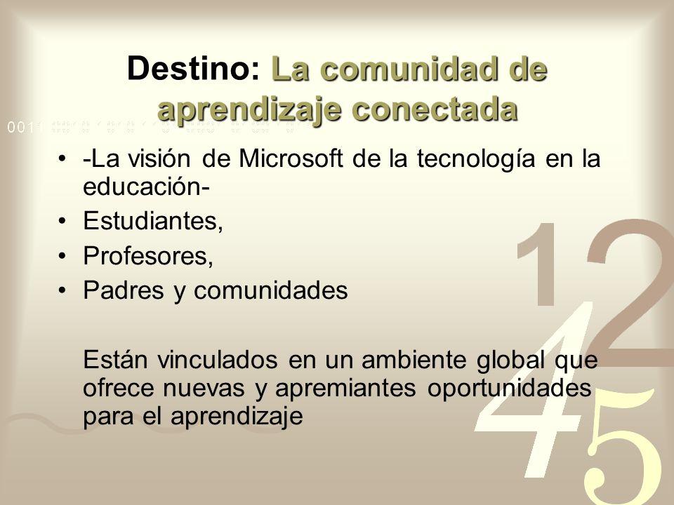 La comunidad de aprendizaje conectada Destino: La comunidad de aprendizaje conectada 1.La rápida y continua evolución de la computadora personal, la cual ha pasado de ser una herramienta de productividad a una de alternativa completa y factible para el aprendizaje.