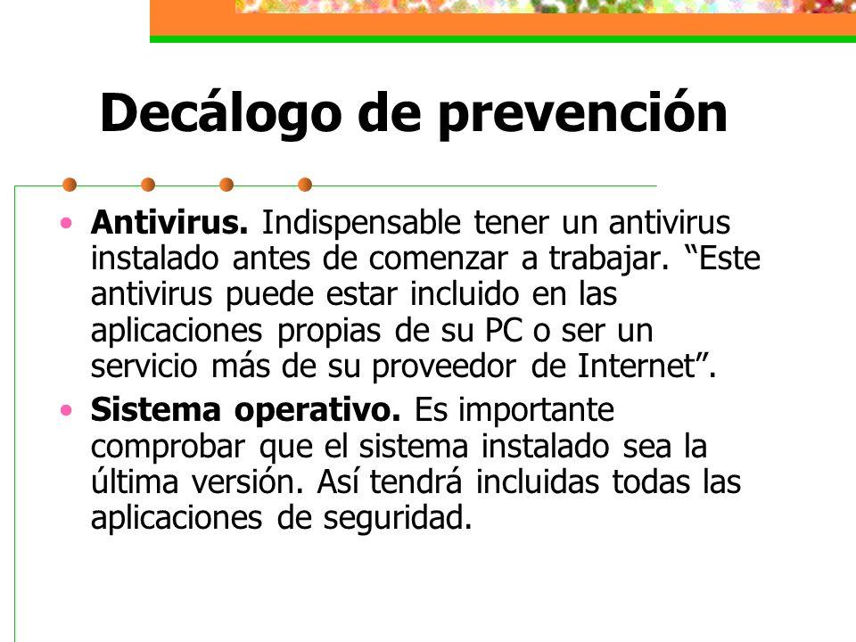 Decálogo de prevención Ventanas indeseadas.