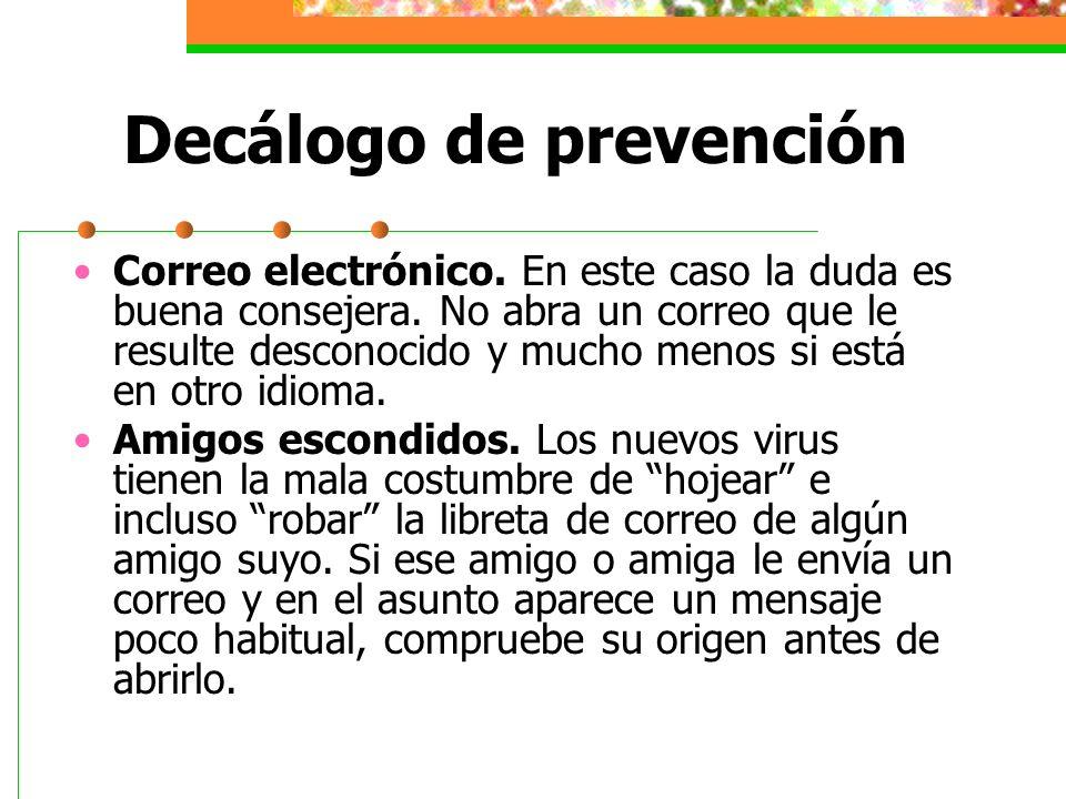 Decálogo de prevención Mensajes repetidos.