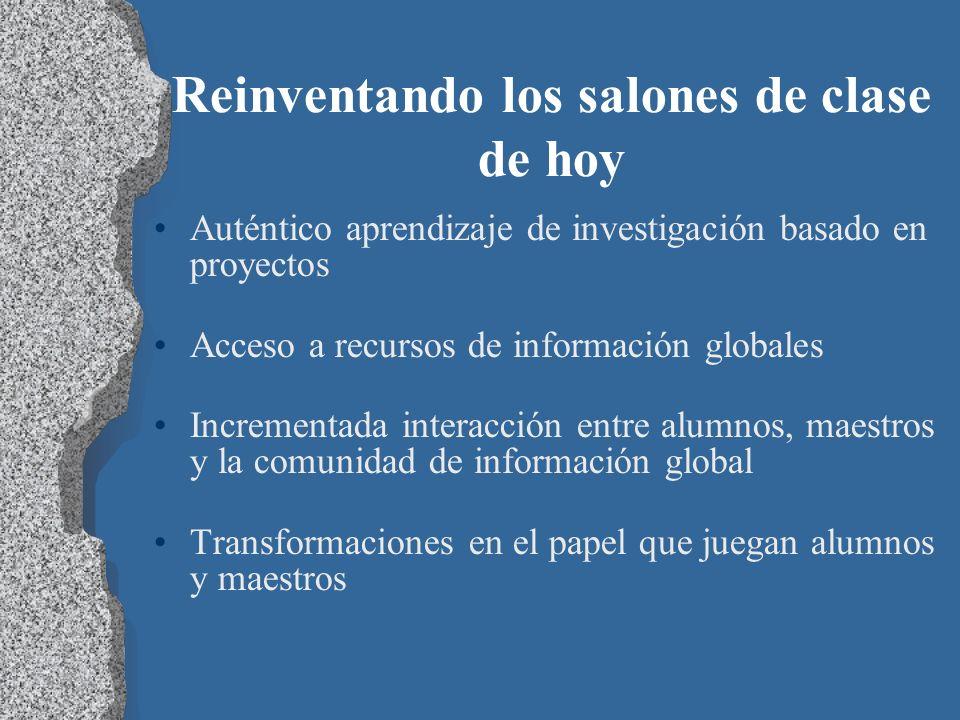 Reinventando los salones de clase de hoy Auténtico aprendizaje de investigación basado en proyectos Acceso a recursos de información globales Incremen