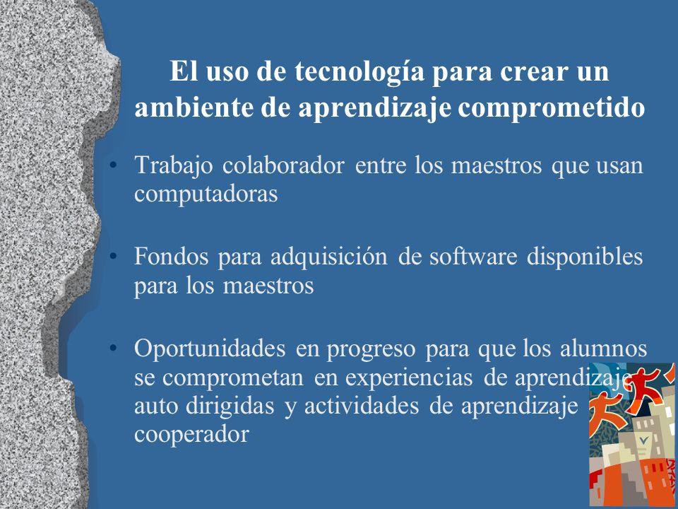 El uso de tecnología para crear un ambiente de aprendizaje comprometido Trabajo colaborador entre los maestros que usan computadoras Fondos para adqui