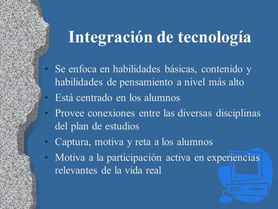 Integración de tecnología Se enfoca en habilidades básicas, contenido y habilidades de pensamiento a nivel más alto Está centrado en los alumnos Prove