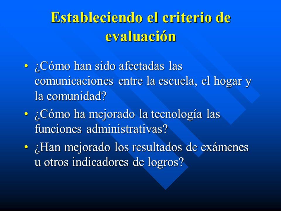 Estableciendo el criterio de evaluación ¿Cómo han sido afectadas las comunicaciones entre la escuela, el hogar y la comunidad ¿Cómo han sido afectadas las comunicaciones entre la escuela, el hogar y la comunidad.