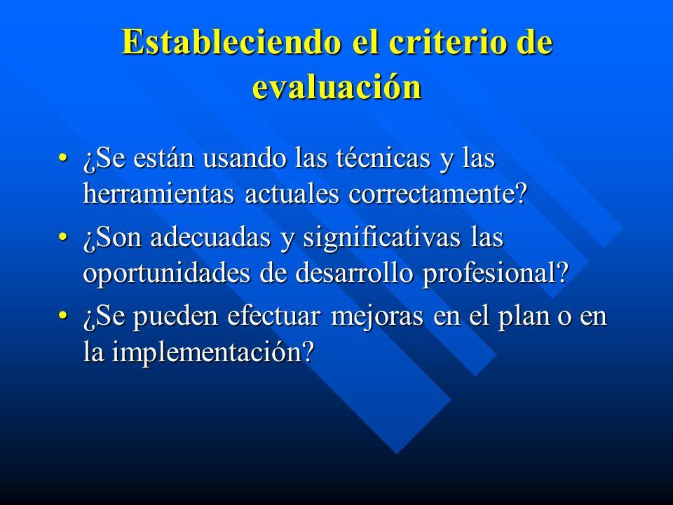 Estableciendo el criterio de evaluación ¿Se están usando las técnicas y las herramientas actuales correctamente ¿Se están usando las técnicas y las herramientas actuales correctamente.