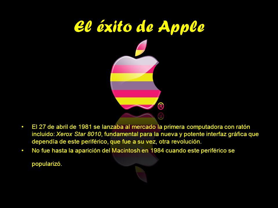 El éxito de Apple El 27 de abril de 1981 se lanzaba al mercado la primera computadora con ratón incluido: Xerox Star 8010, fundamental para la nueva y