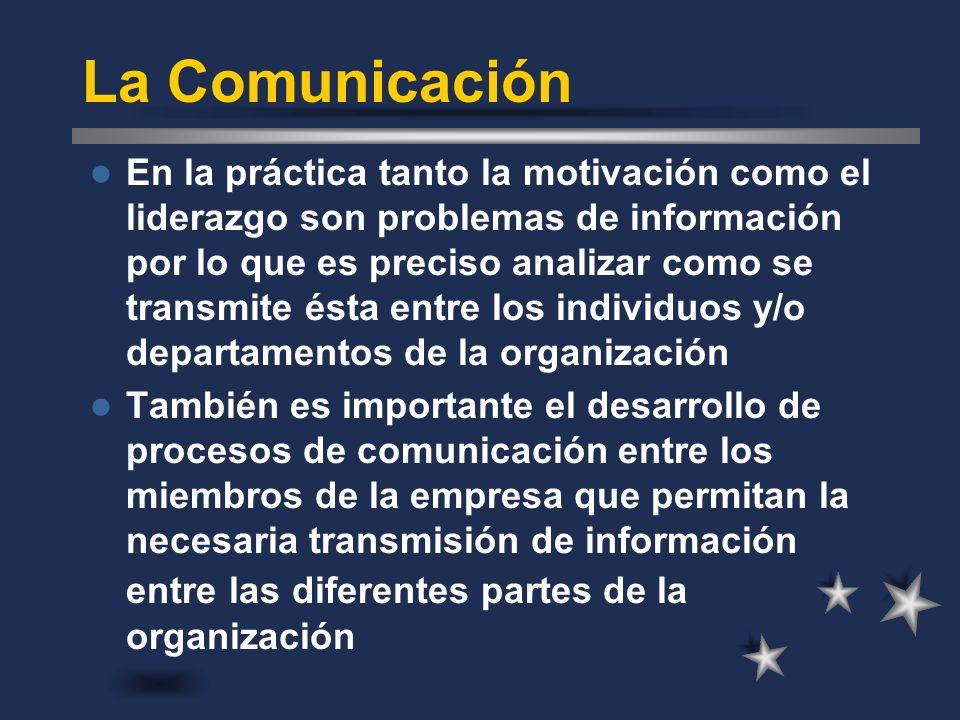 La Comunicación En la práctica tanto la motivación como el liderazgo son problemas de información por lo que es preciso analizar como se transmite ést