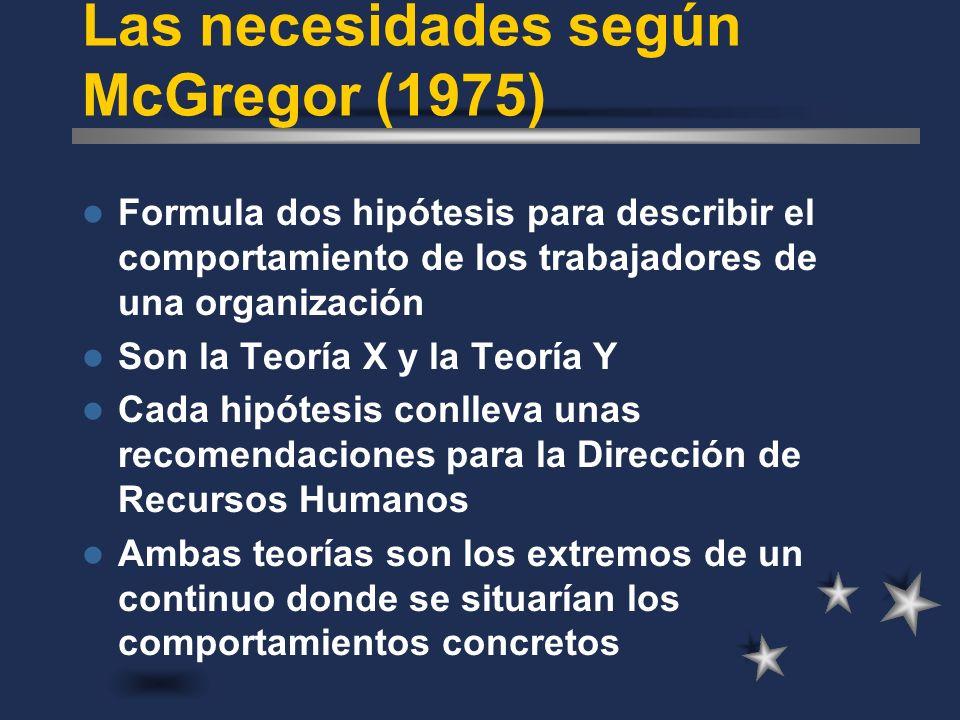 Las necesidades según McGregor (1975) Formula dos hipótesis para describir el comportamiento de los trabajadores de una organización Son la Teoría X y